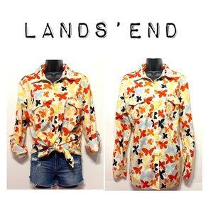 Lands'end Butterfly button down shirt